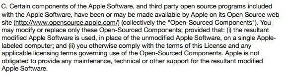 Apple iTunes License: Open-source Components