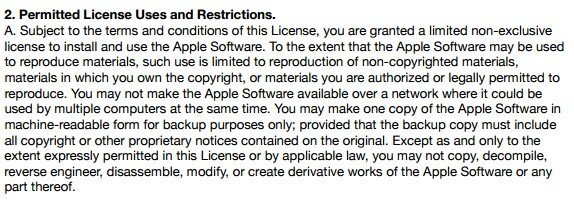 Apple iTunes License: Permitted License Uses clause