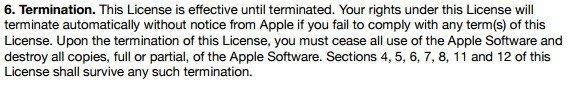Apple iTunes License: Termination clause