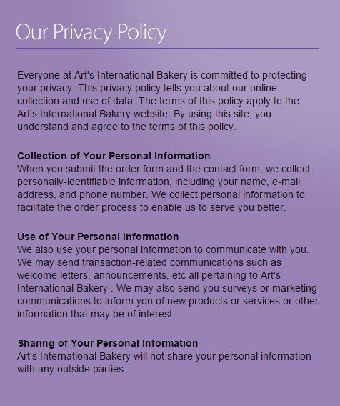 Screenshot of Art's International Bakery Privacy Policy