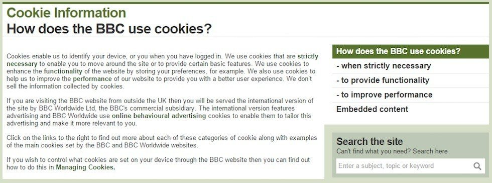 bbc how does the bbc website uses cookies