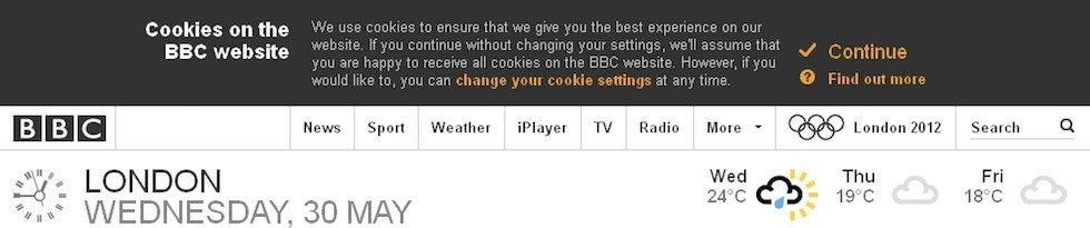 Example of Top Banner Pop-up from BBC on Cookies