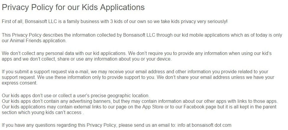 Bonsaisoft: Privacy Policy for our Kids Applications