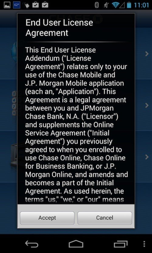 Accept or cancel Chase Mobile Banking app agreement