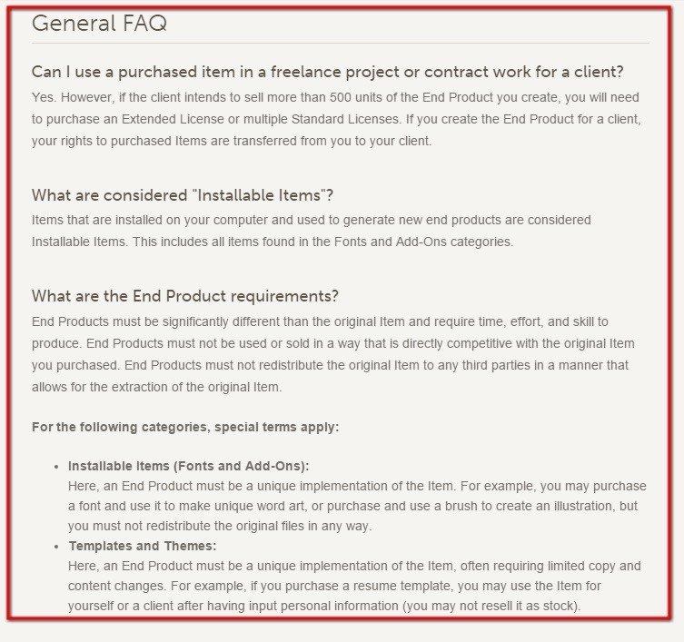Screenshot of General FAQ from Creative Market