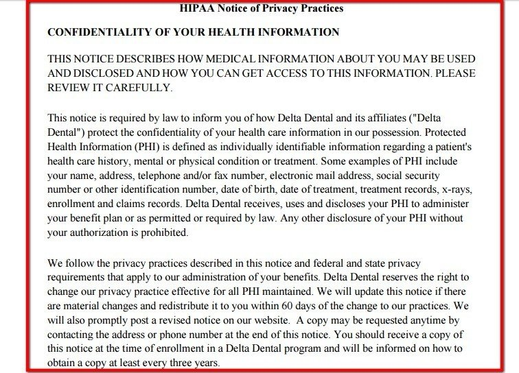 Introduction clause from HIPAA Notice of Delta Dental
