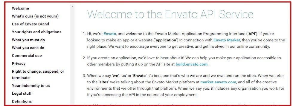Screenshot of API Terms agreement from Envato Market