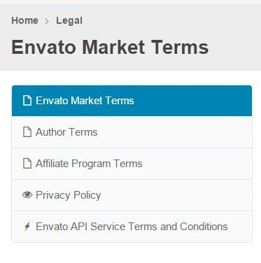 List of legal agreements from Envato Market