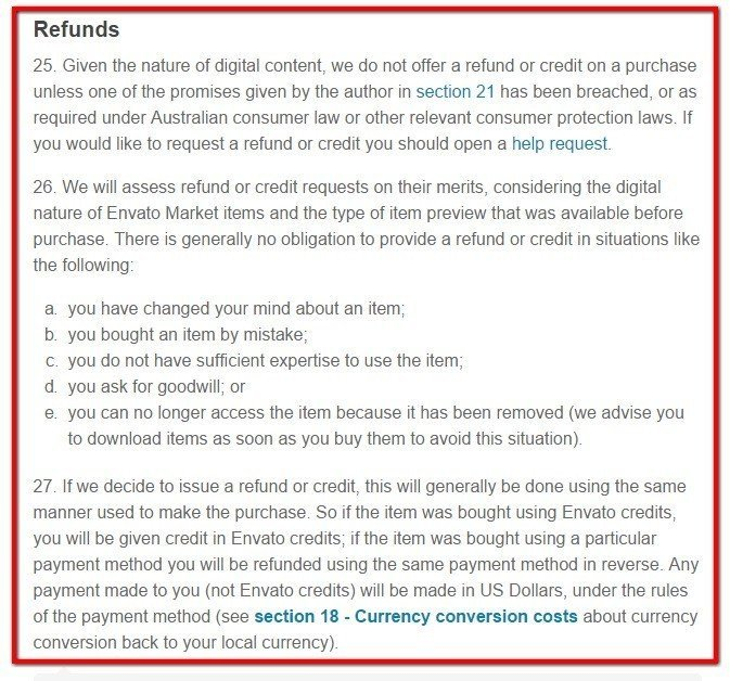 Envato Market, Themeforest: Refunds section (25 to 27)