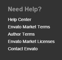 Screenshot of website footer of Envato Market