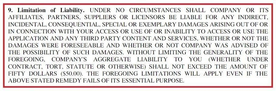 Example of Limitation of Liability clause in EULA