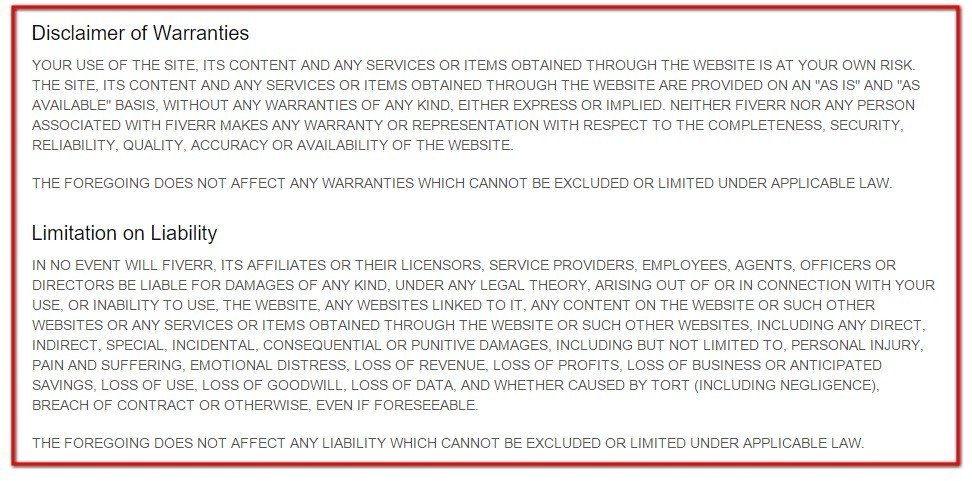 Disclaimer of Warranties and Limitation of Liability in Fiverr agreement
