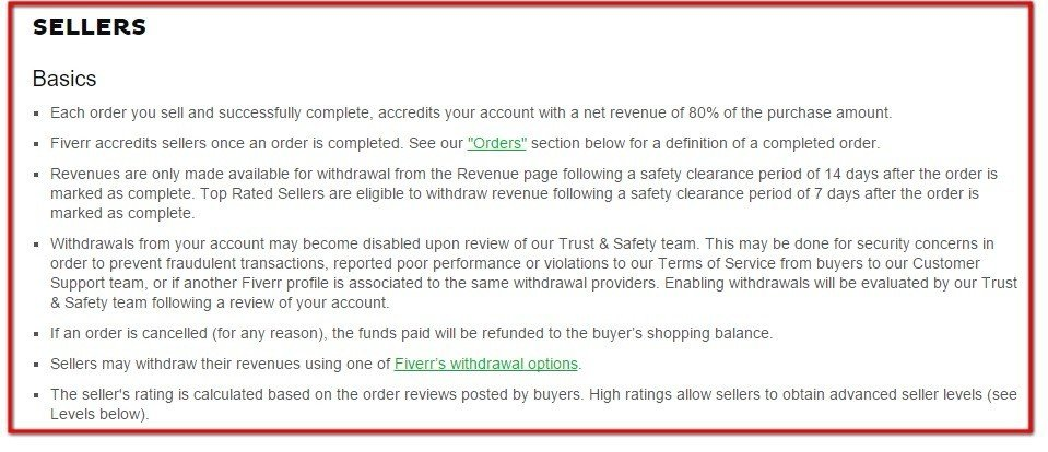 Sellers section clause in Terms of Service of Fiverr
