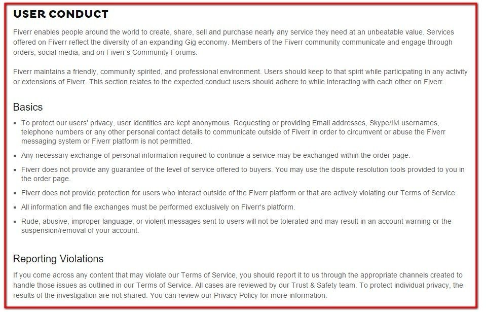 User Conduct section clause in Terms of Service of Fiverr