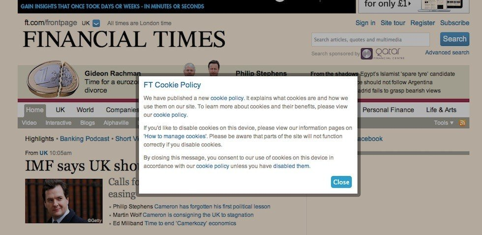 Pop-up message from FT on FT Cookie Policy