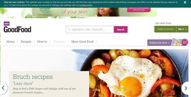 example of top banner pop up from goodfood