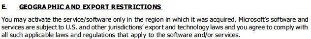 Microsoft Office 365 License: Geographic Restrictions