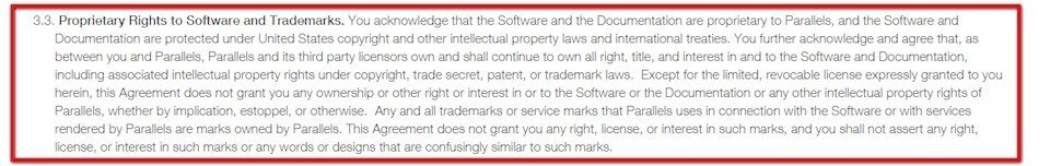 Copyright infringement clause in Parallels software agreement