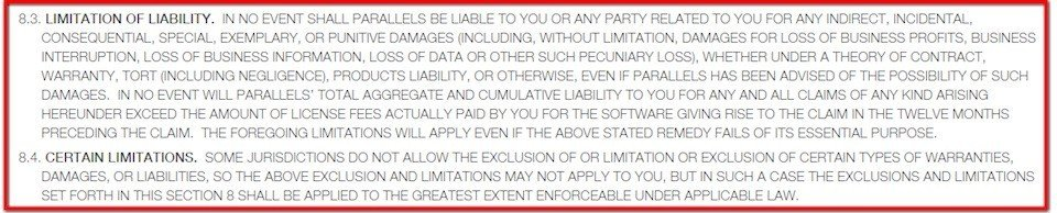 Limitation of liability clause in EULA of Parallels software
