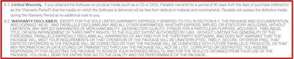 Limited warranty clause in Parallels software agreement