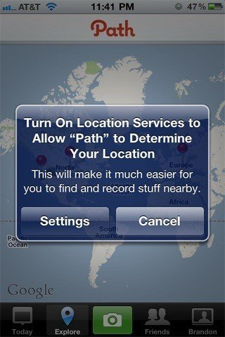 Path iOS app: Turn on Location Services