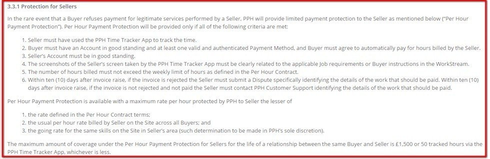 Protection for Sellers clause in Terms and Conditions of PeoplePerHour