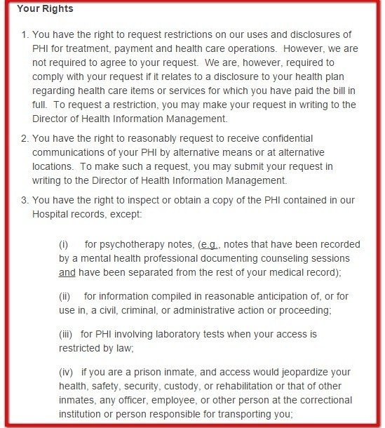 Your Rights clause from HIPAA Notice of Phelps Memorial