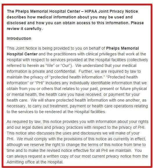 Introduction clause from HIPAA Privacy of Phelps Memorial Website