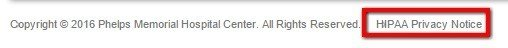 Highlight legal link from Phelps Memorial Hospital Center website