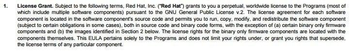 RedHat License Grant clause screenshot