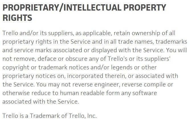 IP clause in Trello legal agreement