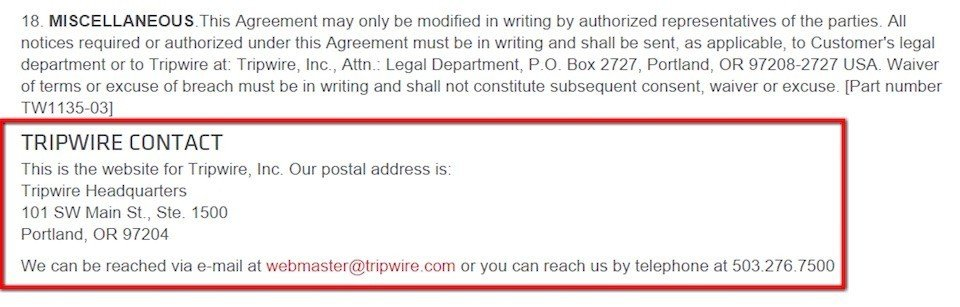 Contact information section in EULA of Tripwire