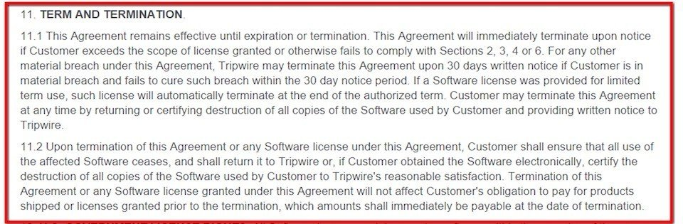 Termination clause in EULA of Tripwire