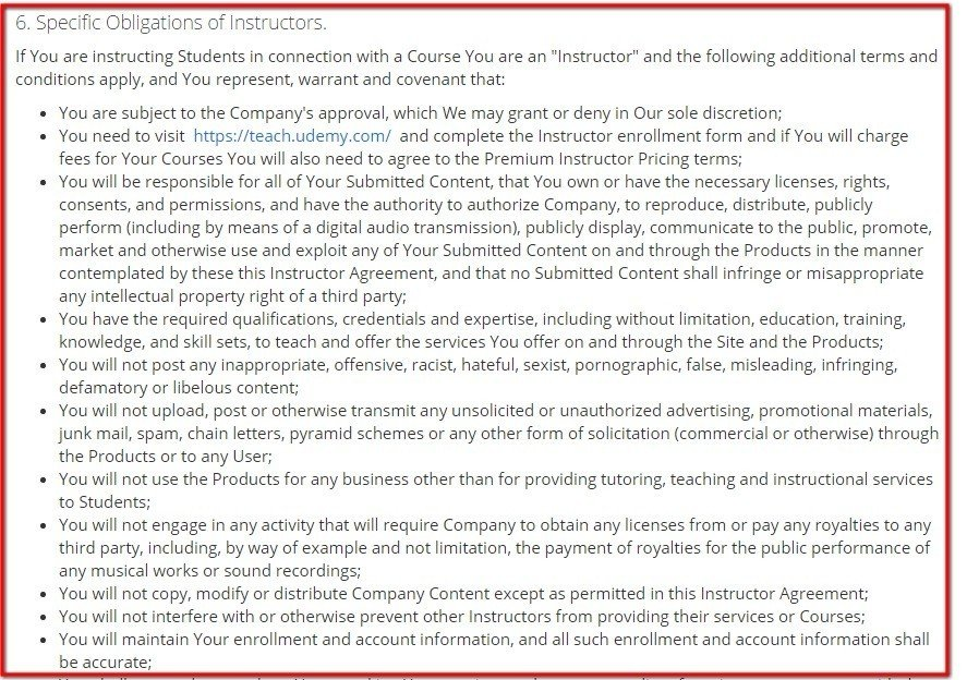 Obligations for Instructors clause in Terms of Use of Udemy