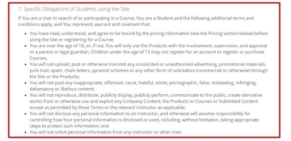 Obligations for Students in Terms of Use of Udemy