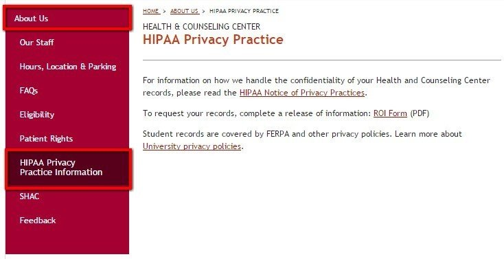 Link to HIPAA Privacy Information from University of Denver