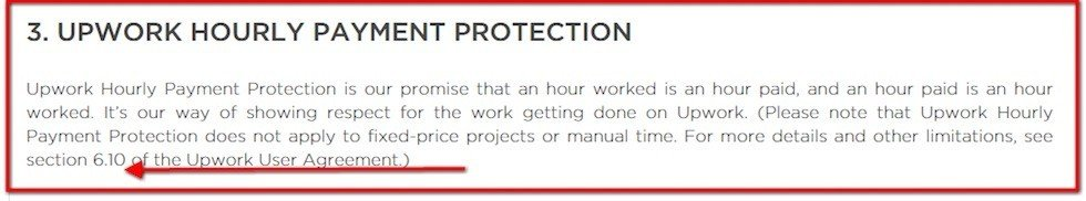 Hourly Payment Protection clause in Contractor Policies of UpWork