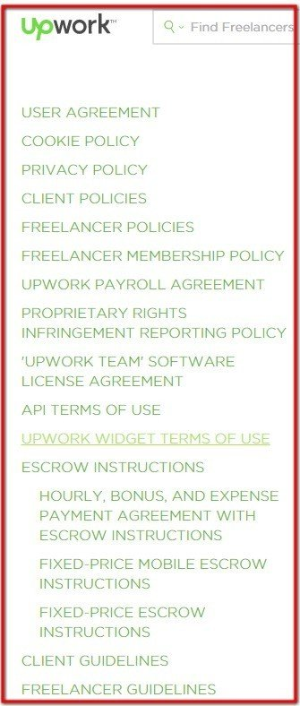 List of legal agreements from UpWork