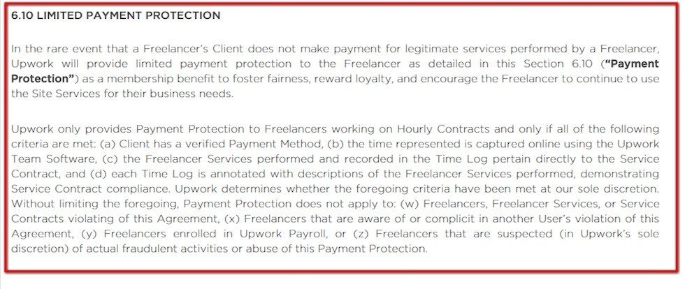 Limited Payment Protection clause in User Agreement of UpWork