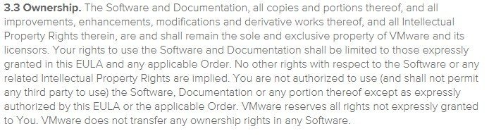 Ownership clause in VMWare EULA