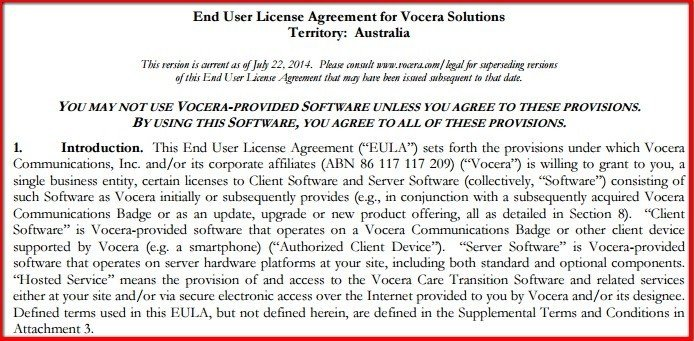 Introduction clause in EULA of Vocera Solutions