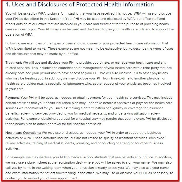 Uses and Disclosures clause from HIPAA Notice of Washington Radiology
