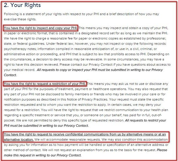 Your Rights clause from HIPAA Notice of Washington Radiology