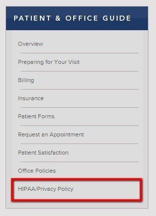 Washington Radiology: Highlight link to HIPAA Privacy
