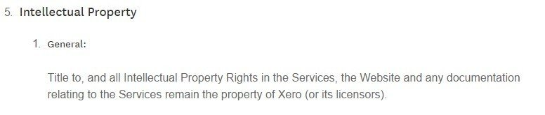 IP clause in Xero legal agreement