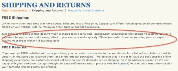 free shipping policy from zappos