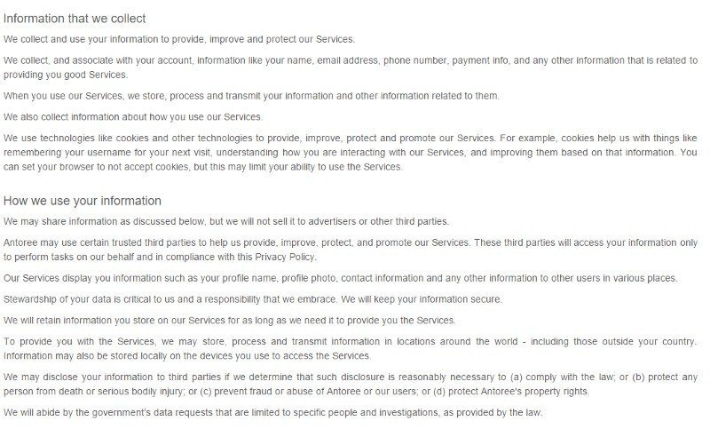 Antoree Privacy Policy: Information we collect