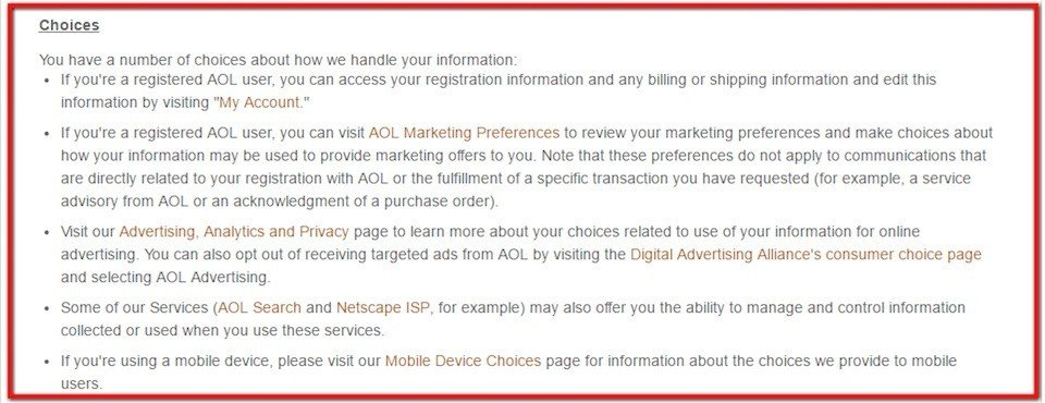 AOL Choice disclosure section