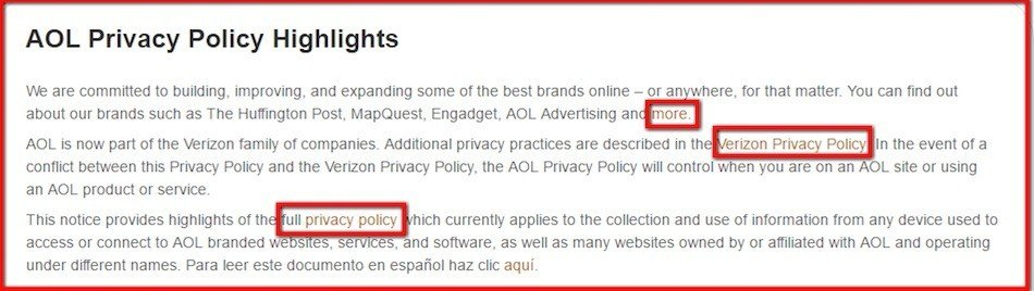 AOL Privacy Policy Highlights