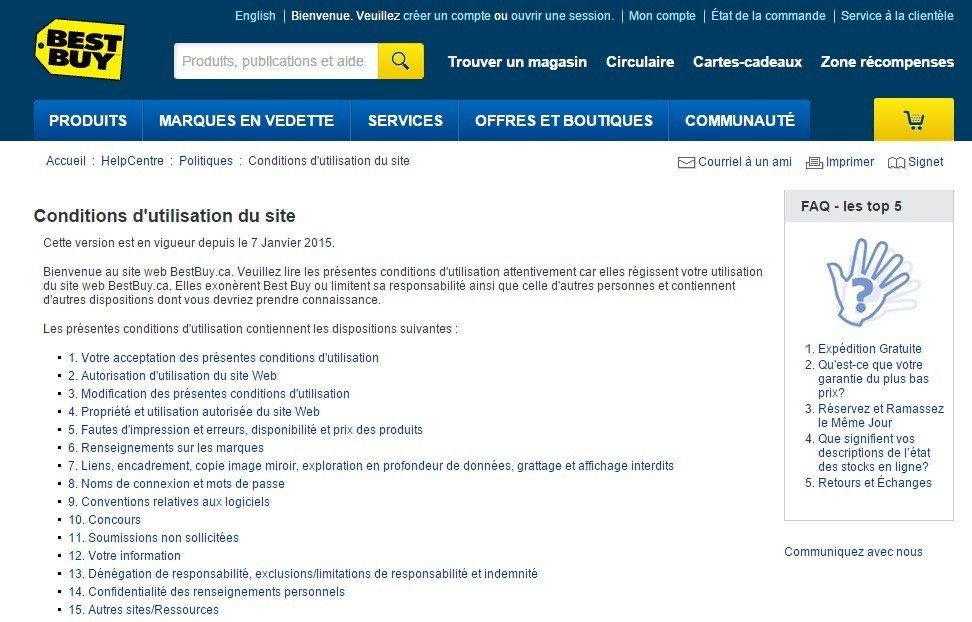 BestBuy Canada: Conditions utilisations